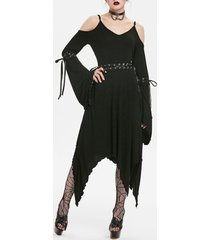gothic lace up bell sleeve asymmetrical dress