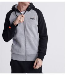 superdry men's orange label classic raglan zip hoodie