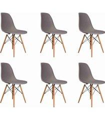 conjunto 06 cadeiras eif.s/branco pp cinza base madeira rivatti