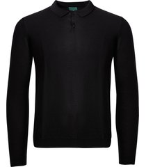none of the above long sleeve knitted polo shirt - black 8007