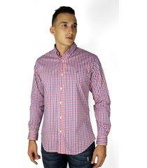 camisa a manga larga a cuadros roja para hombre - ccm033