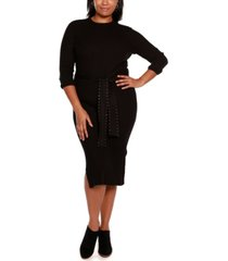 belldini black label plus size sweater dress with embellished waist tie