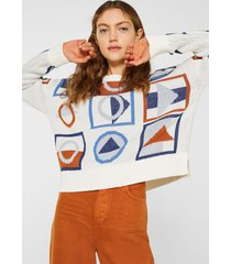 sweater con diseño geométrico blanco esprit