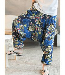 hombres tribal print loose fit casual pantalones