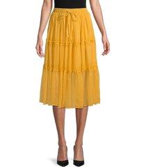 wdny women's tiered tie-waist skirt - mango - size l
