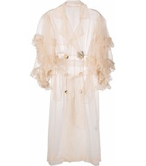 act n°1 ruffle-trimmed tulle coat - neutrals