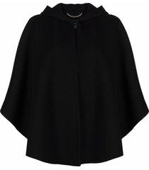 ermanno scervino draped virgin wool cape - black