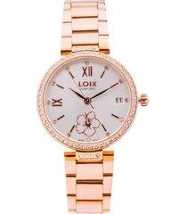 reloj dama marca loix -  ref l 1150-02 - oro rosa