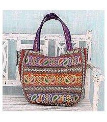 embroidered shoulder bag, 'paisley flair' (india)
