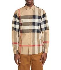 men's burberry somerton plaid button-up shirt