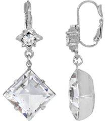 2028 women's silver tone crystal swarovski stone drop earring