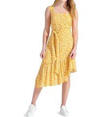 sam edelman women's asymmetric floral apron dress - yellow - size 8