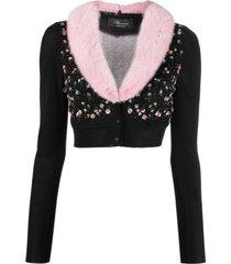 blumarine sequin-embellished v-neck cardigan