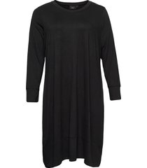 dress long sleeves plus round neck knälång klänning svart zizzi