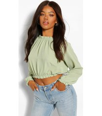 woven high neck ruffle crop blouse, olive