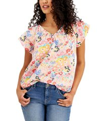 style & co cotton floral flutter sleeve top, created for macy's