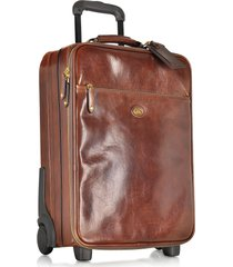 the bridge designer travel bags, story viaggio marrone leather trolley