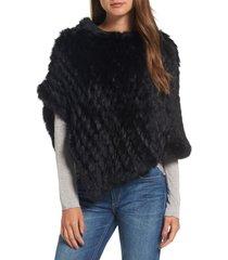 women's la fiorentina genuine rabbit fur poncho, size one size - black