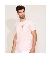 camiseta masculina coqueiros com bolso manga curta gola careca rosê