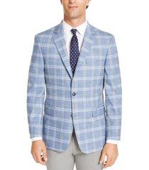 tommy hilfiger men's modern-fit thflex stretch windowpane sport coat