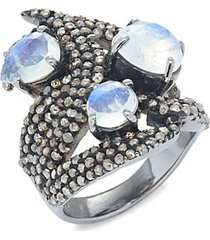 black rhodium-plated sterling silver, moonstone & diamond statement ring