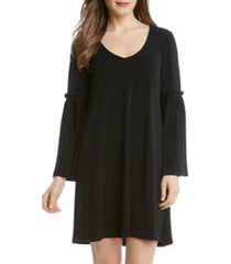 women's karen kane bell sleeve a-line dress, size medium - black
