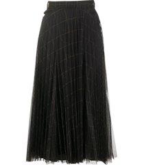brunello cucinelli windowpane print pleated midi skirt - grey