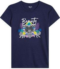 camiseta azul-multicolor facol