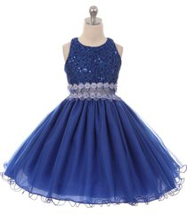 royal blue sequin bodice wired tulle skirt see-through front waist line dress