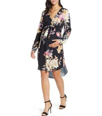 women's angel maternity long sleeve floral crepe maternity/nursing dress, size small - black