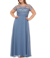 plus size women's js collections floral embroidered chiffon gown, size 20w - blue