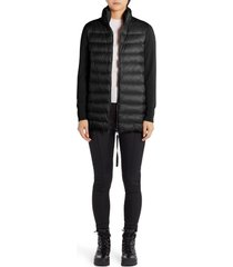 women's moncler quilted down & wool long cardigan, size small - black