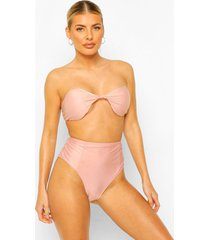 essentials geknoopte bandeau bikini top, poederroze