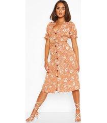 printed button thorugh midi dress, rust