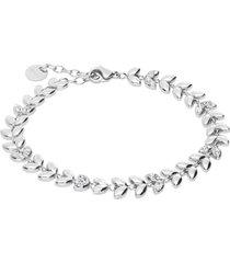 bracciale in acciaio e strass foglioline per donna
