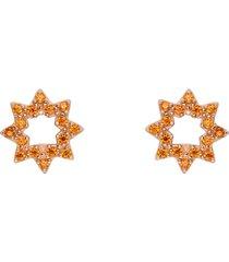orecchini a lobo sole in argento rosato e zirconi arancioni per donna