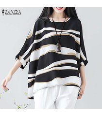 zanzea mujeres largo manga del batwing casual onda de la raya floja camisa de la blusa tops plus -negro