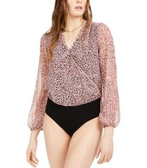 bar iii printed surplice bodysuit, created for macy's