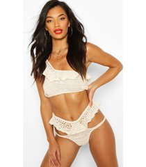 crochet knitted frill bikini, cream