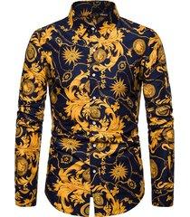 casual baroque chain print button up shirt