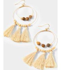 cailynn wood tassel circle drop earrings - natural