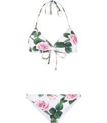dolce & gabbana tropical rose print bikini - white