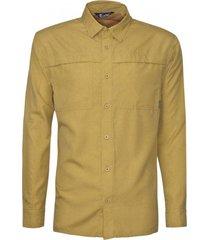 camisa manga larga ajustable mostaza kannú