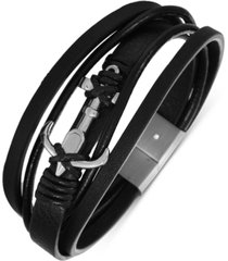 inc men's stainless steel anchor faux-leather multi-row magnetic bracelet, created for macy's