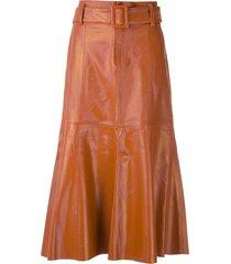 eva leather flared skirt - brown