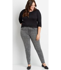 maurices plus size womens denimflex™ dark houndstooth backed destructed jegging blue