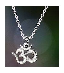 men's sterling silver necklace, 'mythical om' (indonesia)
