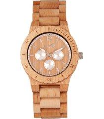earth wood bonsai wood bracelet watch w/day/date khaki-tan 45mm
