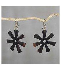 ebony dangle earrings, 'fofoo flower' (ghana)