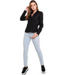 camisa latifundio tricoline elastano manga longa feminina